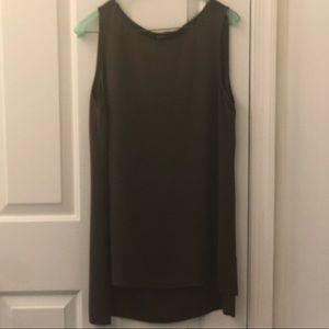 Eileen Fisher olive green silk tunic